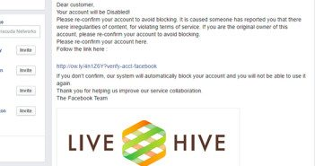 Facebook phishing scam